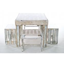 Mobili giardino: tavolo e 4 sgabelli shabby chic