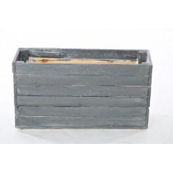 Fioriera in legno rigenerato grigio metallico