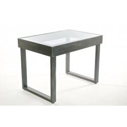 Tavolo in legno grigio metallico con top in acrilico fumè