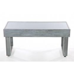 Panca in legno grigio metallico con top in acrilico fumè