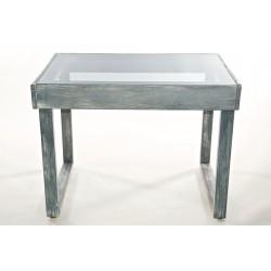 Tavolo in legno grigio graffiato con top in acrilico fumè