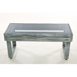 Panca in legno color grigio graffiato con top fumè