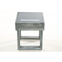 Sgabello in legno grigio graffiato con top in acrilico fumè