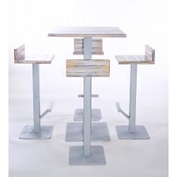 Tavolo in legno alto con 4 sgabelli