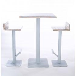 Tavolo alto in legno con 2 sgabelli