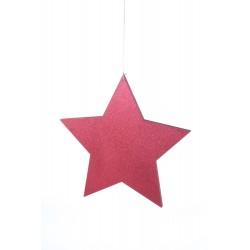 Stella glitterata bifacciale rossa